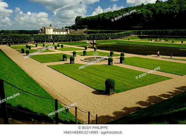 France, Indre et Loire, Loire Valley listed as Word Heritage by UNESCO, castle and gardens of Villandry, built in XVI century, in Renaissance style