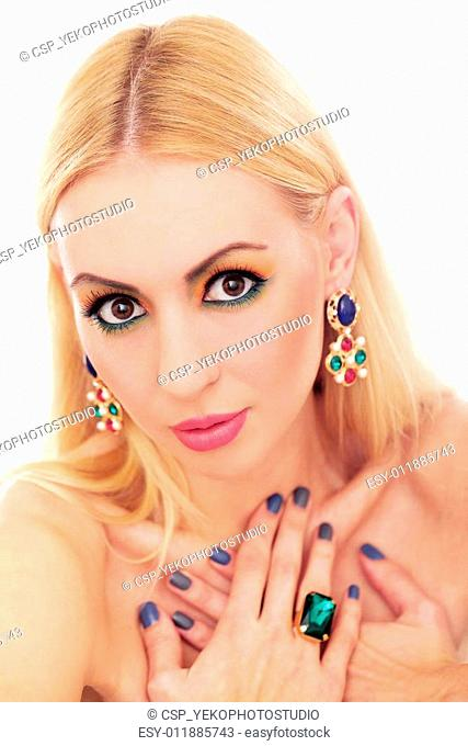Blonde woman showing her cute colored look