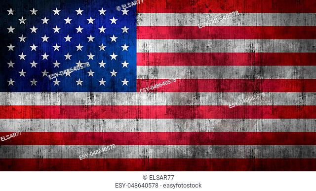 Grunge crumpled american flag background with dirt. 3d rendering