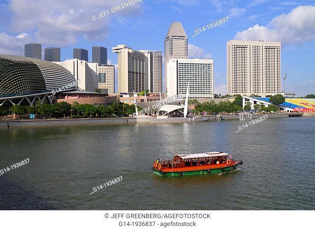 Singapore, Singapore River, Marina Bay, Esplanade Theatres on the Bay, theatre, outdoor theater, water taxi, cruise boat, Marina Promenade
