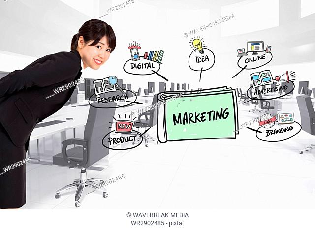 Side view of businesswoman with marketing graphics