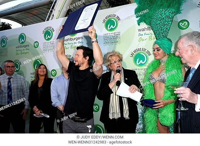 Grand Opening of Wahlburgers at Grand Bazaar Shops at Bally's Las Vegas Featuring: Mark Wahlberg, Mayor Carolyn Goodman, Oscar Goodman Where: Las Vegas, Nevada