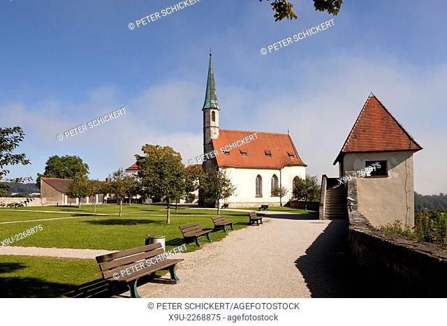 the late Gothic outer Chapel of St. Hedwig at a courtyard of the castle in Burghausen, Bavaria, Germany, Europe