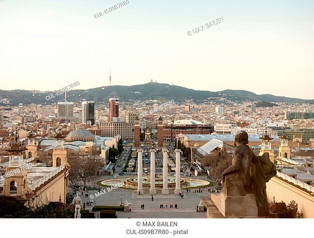 Elevated cityscape view with Plaza de las Cascadas, Barcelona, Spain