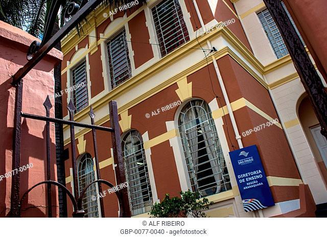 Facade, old building, Educational Board, Center, Araraquara, São Paulo, Brazil