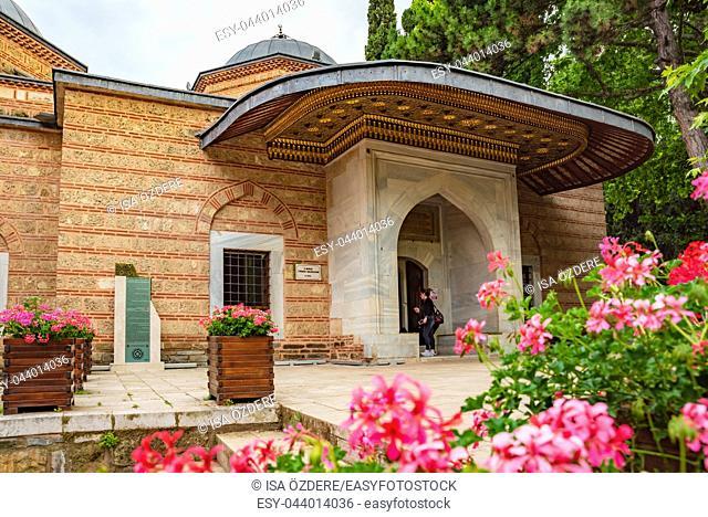 Exterior view of Sultan Murad II tomb,mausoleum at Muradiye complex or Complex of Sultan Murad II in Bursa,Turkey. 20 May 2018