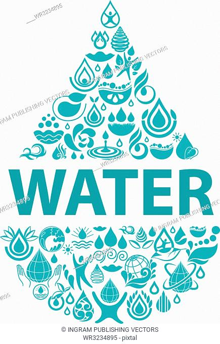 Conceptual background of pure water. Set of water icons and design elements