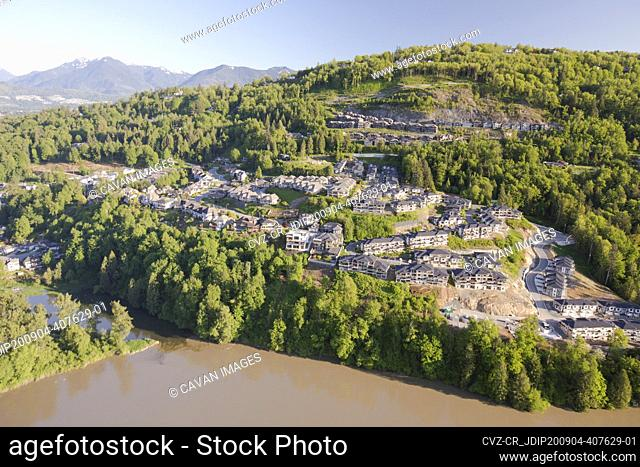 Aerial view of development on Chilliwack Mountain, B.C., Canada