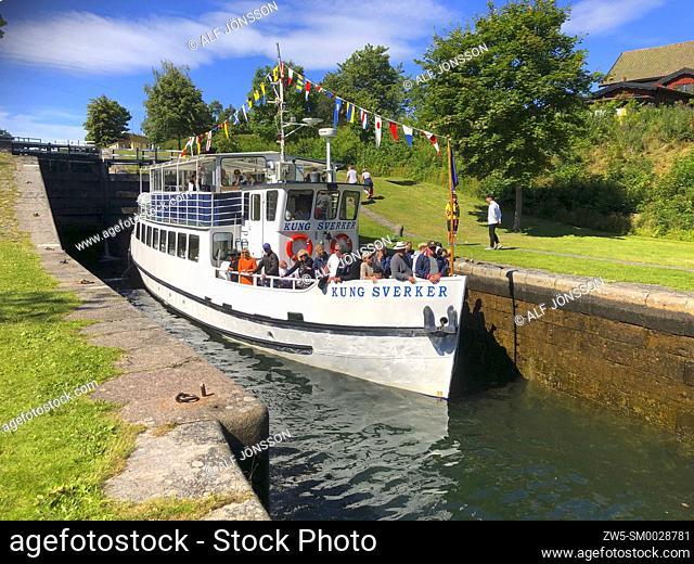 "The old passenger boat """"Kung Sverker"""" in a lock on the Gota Canal at Borenshult, Ostergotland, Sweden, Scandinavia"