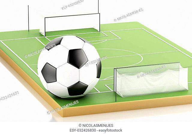 3d illustration. Soccer ball on a soccer field. Sports concept. Isolated white background