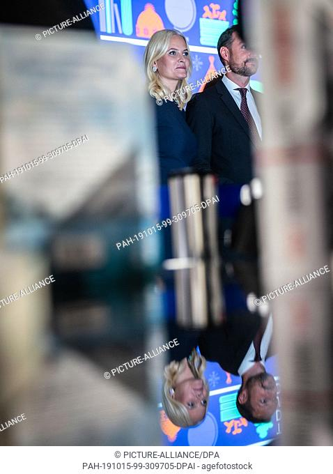 FILED - 15 October 2019, Hessen, Frankfurt/Main: After the opening ceremony of the Frankfurt Book Fair, Crown Princess Mette-Marit of Norway is visiting the...