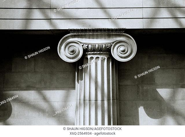 Ionic column at the British Museum in London in the United Kingdom