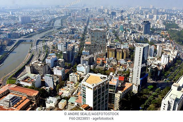 Aerial view of Ho Chi Minh City from the top of Bitexco Financial Tower, Vietnam