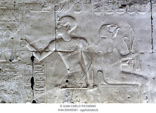 Abydos, Egypt, the mortuary temple of pharaoh Seti I, Menmaatra, (XIX° dyn. 1321-1186 B.C.) -The king adoring the god Horus
