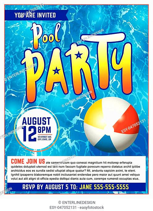 A pool party invitation template. Vector EPS 10 available which is layered