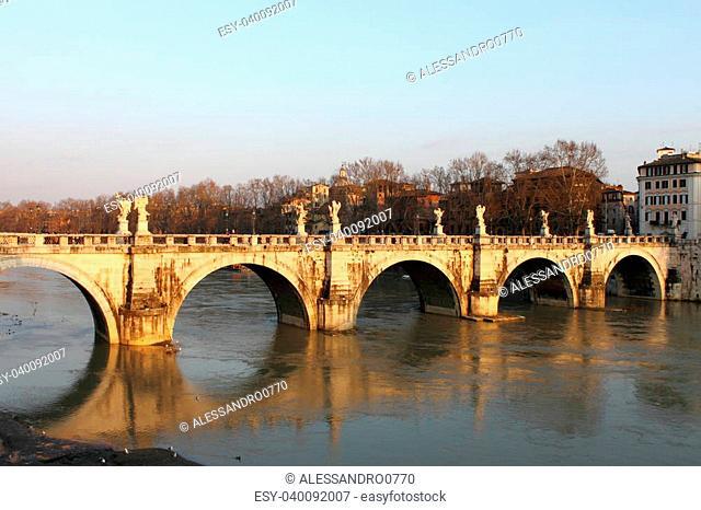 Saint Angel bridge in Rome, Italy