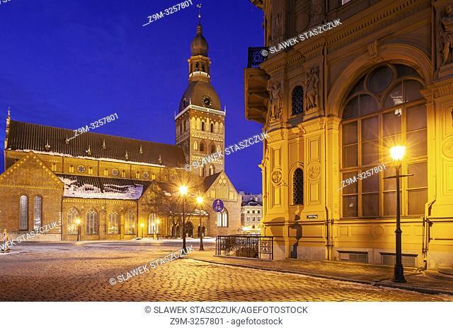Dawn at Cathedral Square in Riga, Latvia