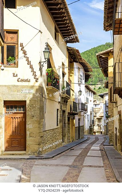 Renovated buildings in the picturesque old town of Rubielos de Mora in the Gúdar-Javalambre region, Teruel, Aragon, Spain