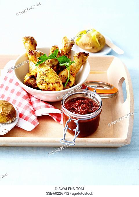 Chicken drumsticks and homemade barbecue sauce
