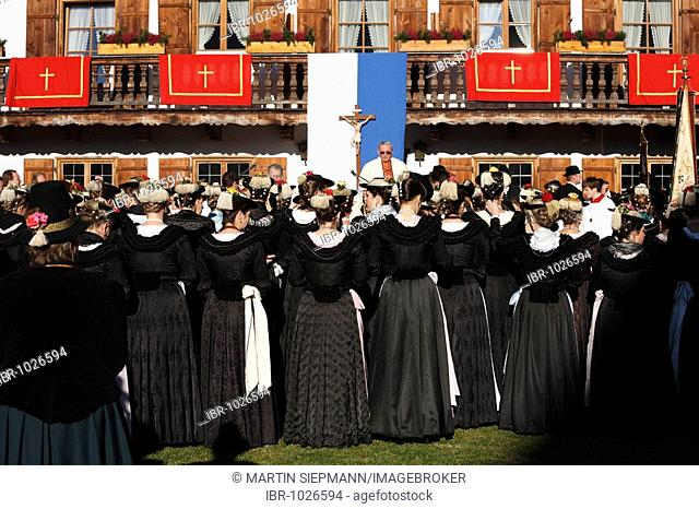 Women wearing traditional costumes during mass on Leonhardifahrt, the feast day of Saint Leonard of Noblac, Kreuth, Tegernsee Valley, Upper Bavaria, Germany