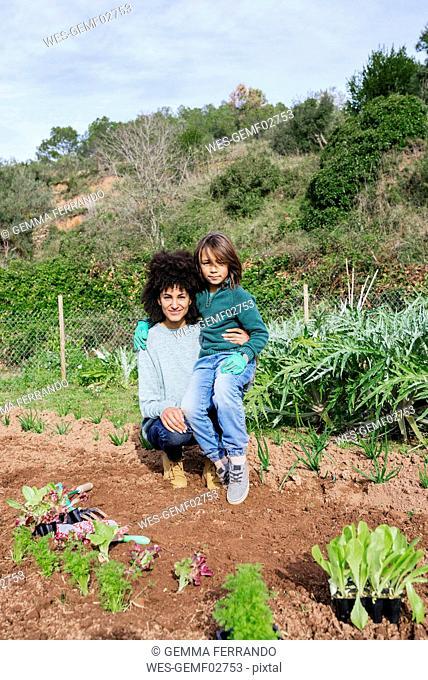 Mother and son planting lettuce seedlings in vegetable garden