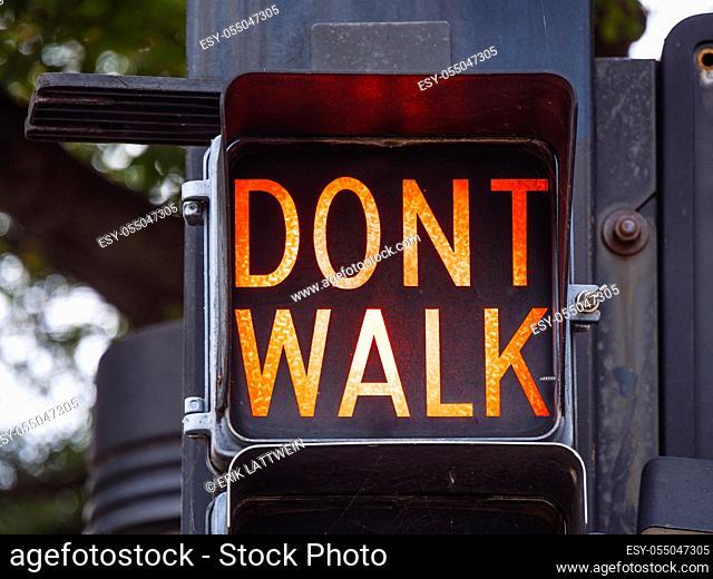 Walk - Dont Walk old traffic lights in Tulsa Downtown - USA 2017