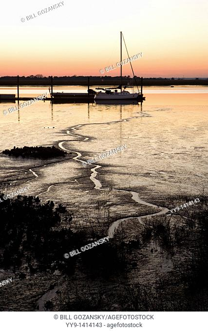 Sailboat in the sunset - Jekyll Island, Georgia USA