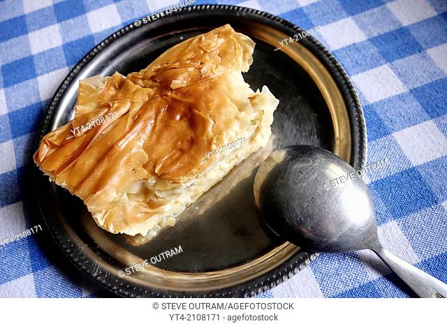Greek Cuisine. Custard Pie Dessert Galaktoboureko