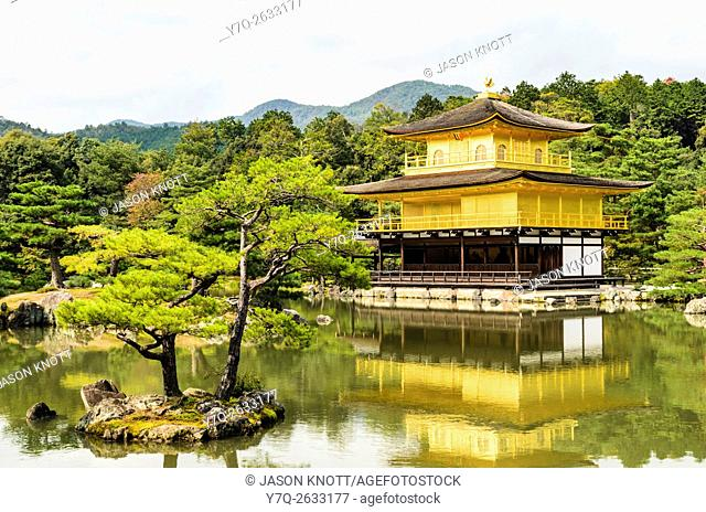 The Kinkaku-ji or Golden Pavilion in Autumn, Kita-ku, Kyoto, Kansai, Japan