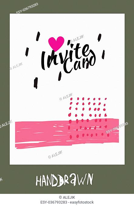 trendy invite cards. Hand Drawn design. Wedding day, anniversary, birthday, Valentin's day, party invitations, invite or save the date. Vector