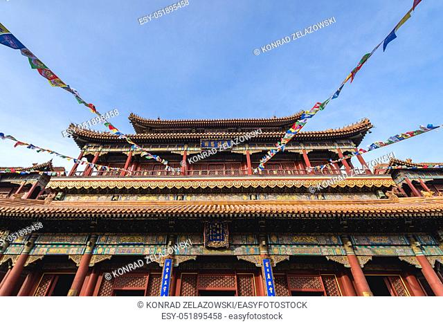 Front view of Pavilion of Ten Thousand Happiness in Palace of Peace and Harmony simply called Lama Temple in Beijing, capital city of China