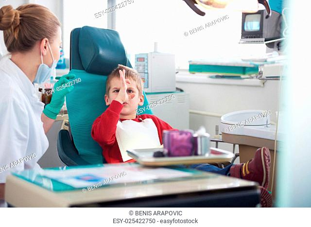 Young boy in a dental surgery teeth chech