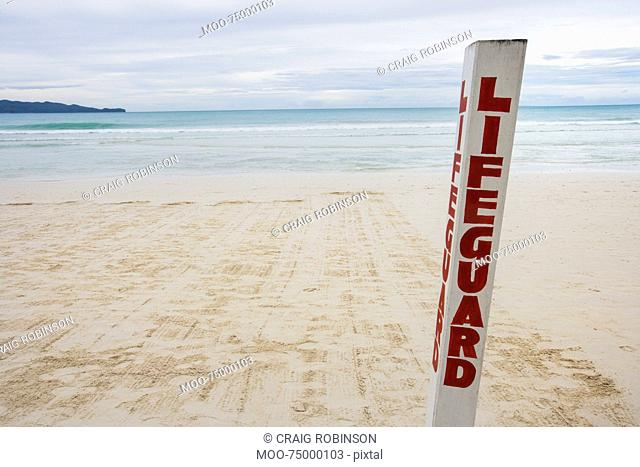 Lifeguard written on pole at Boracay beach, Philippines