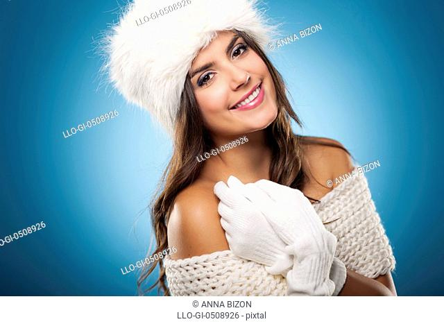 Portrait of beautiful and smiling winter woman Debica, Poland