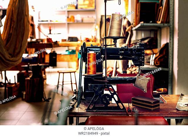 Sewing machine in workshop