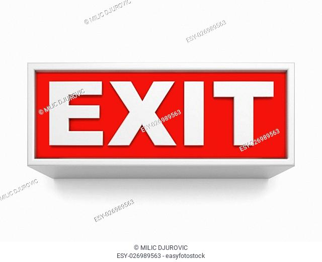 Exit sign on white wall. 3D rendered illustration isolated on white background