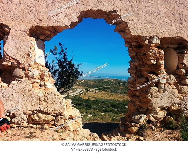 Hole in a wall of old fort Cullera, Valencia, Spain, Europe