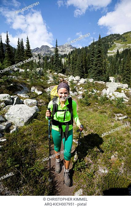 Female Climber Hiking In Mount Marriott In British Columbia