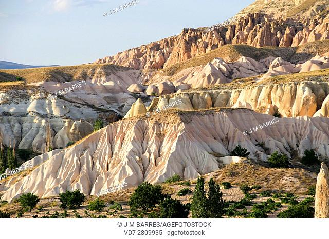 Badlands are a dry terrains formed with softer sedimentary rocks (volcanic tufa), easy to erode by water or wind. This photo was taken in Cappadocia, Turkey