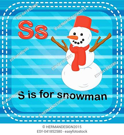 illustration of Flashcard letter S is for snowman
