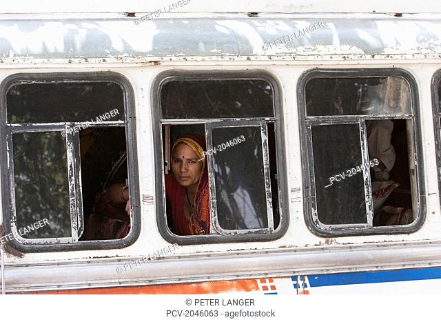 Woman On A Bus In Nawalgarh, Rajasthan, India