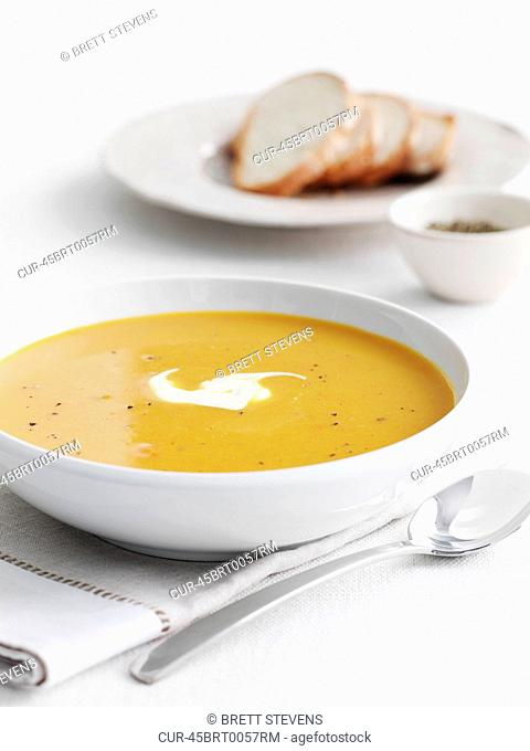 PumpkinSoup, Pumpkin, Sour Cream, Crusty Bread, Pepper