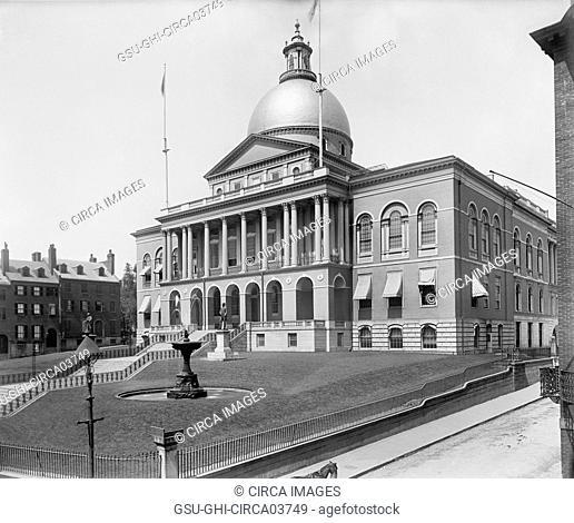 State House, Slight Angle, Boston, Massachusetts, USA, Detroit Publishing Company, 1899