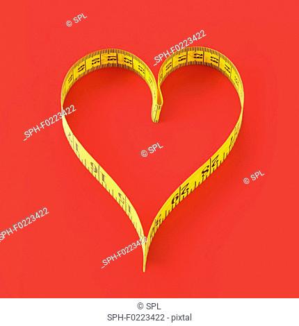 Measuring tape in heart shape