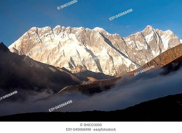 Everest and Lhotse with beautiful clouds, Khumbu valley, Solukhumbu, Nepal Himalayas