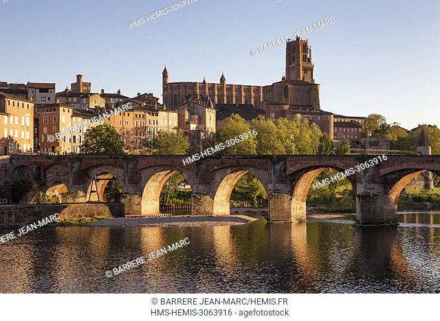 France, Tarn, Albi, the episcopal city, listed as World Heritage by UNESCO, Sainte Cecile cathedral and old bridge over the Tarn