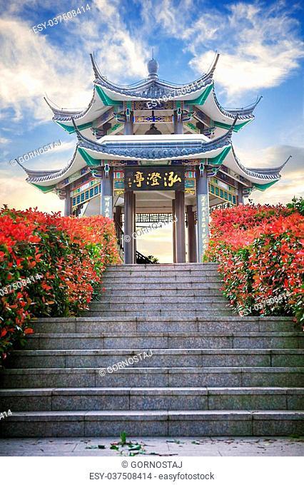 Beautiful small pavilion blue sky and clauds, Dongtou island, Wenzhou, Zhejiang province, China