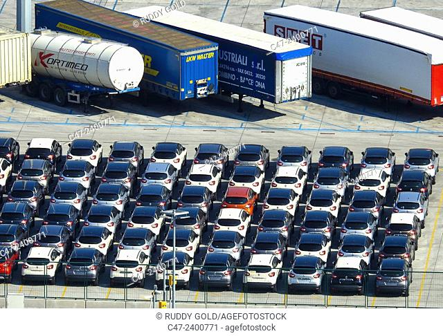 Cars storage at Barcelona port. Spain