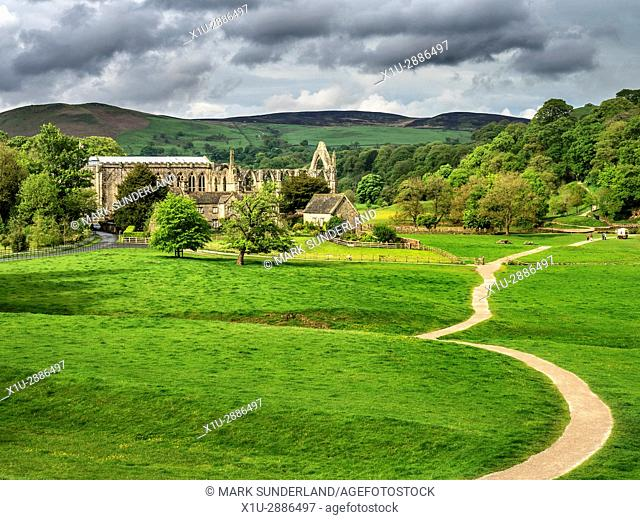 Bolton Priory Ruins in Spring, Bolton Abbey, North Yorkshire, England