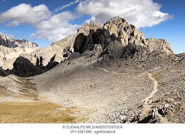 a view of the ridge along the via ferrata Bepi Zac into the Marmolada Group with the Cima dell'Uomo in the background, Trento Province, Trentino Alto Adige